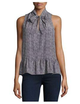 estero-sleeveless-herringbone-silk-top,-black by joie