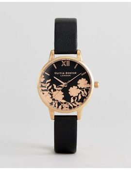 olivia-burton-ob16mv75-lace-detail-leather-watch-in-black by olivia-burton