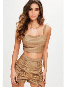 petite-gold-metallic-co-ord-top by missguided