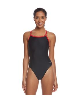 sporti-solid-piped-thin-strap-one-piece-swimsuit by undefined