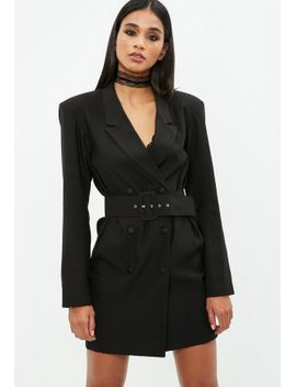 black-crepe-belted-button-blazer-dress by missguided