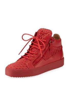 mens-pyramid-leather-mid-top-sneakers by giuseppe-zanotti
