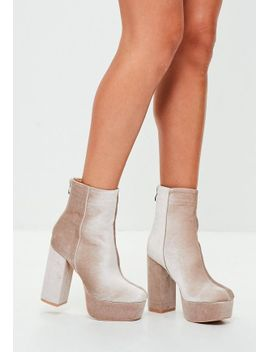 nude-velvet-platform-ankle-boots by missguided