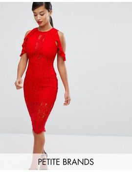 naanaa-petite-lace-bodycon-midi-dress-with-off-shoulder-and-cut-out-detail by naanaa