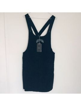 lazy-oaf-black-corduroy-pinafore-dress-with-messed-up-slogan-size-l by ebay-seller