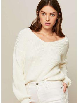 cream-crop-lattice-back-knitted-jumper by miss-selfridge