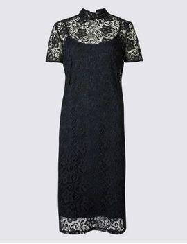 floral-lace-short-sleeve-bodycon-dress by marks-&-spencer
