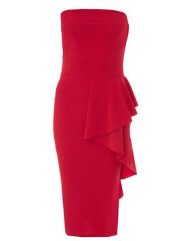 *quiz-red-crepe-bardot-midi-dress by dorothy-perkins