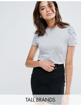 new-look-tall-gray-puff-sleeve-jersey-top by new-look-tall