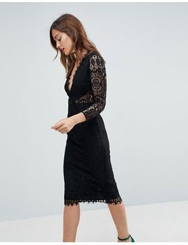 asos-long-sleeve-lace-midi-pencil-dress by asos-collection