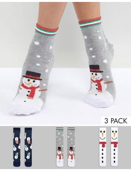 asos-3-pack-holidays-snowman-cracker-socks by asos-collection