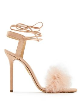 salsa-feather-embellished-suede-sandals by charlotte-olympia