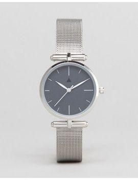 asos-curve-premium-dark-gray-shoulder-detail-mesh-watch by asos-curve