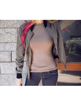 tapered-zip-up-bomber-jacket by chuu