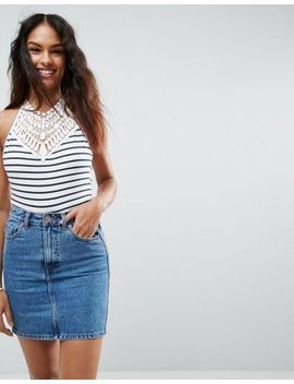 asos-body-with-crochet-halter-neck-in-stripe by asos-collection