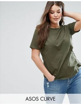 asos-curve-t-shirt-with-contrast-rib-yoke by asos-curve