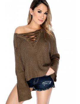 sexy-dark-olive-lace-up-metal-ring-accent-flared-long-sleeve-knit-pull-over-sweater by ami-clubwear