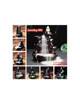 ceramic-lotus-flower-incense-burner-holder-+-10-backflow-cone-for-cones-&-sticks-&-coil by wish