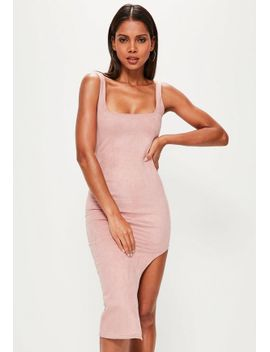 pink-faux-suede-asymmetric-midi-dress by missguided