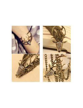 vintage-pulseras-mujer-retro-full-diamante-mysterious-deer-head-vintage-bracelet-for-women-bangles-bronze-gubkin by wish