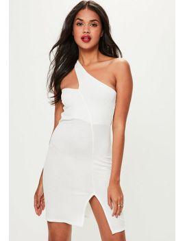 white-asymmetric-neck-bodycon-dress by missguided