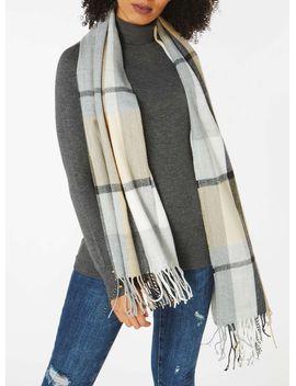 neutral-grey-check-print-scarf by dorothy-perkins