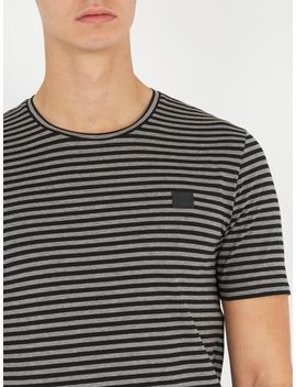 napa-face-striped-cotton-t-shirt by acne-studios