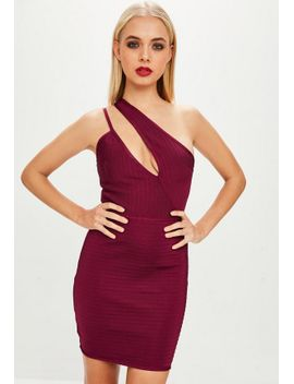 purple-bandage-one-shoulder-mini-dress by missguided