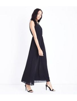 mela-black-embellished-chain-neck-maxi-dress by new-look