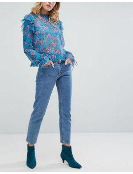 monki-monokomi-cropped-straight-leg-jeans-with-organic-cotton-in-mid-blue by monki