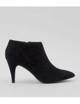 black-suedette-cone-heel-shoe-boots by new-look