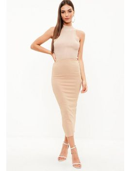 camel-crepe-midmax-skirt by missguided