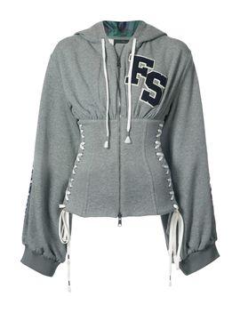 grey-corset-zipped-hoodie by shopbazaar