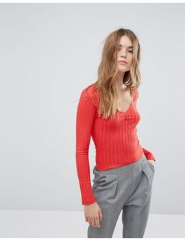 new-look-wide-rib-vneck-long-sleeve-jersey-top by new-look