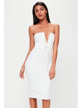 white-bandeau-corset-belt-dress by missguided