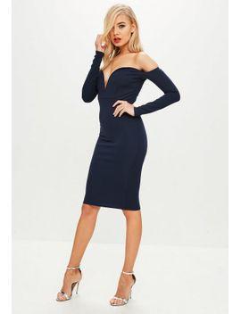 navy-v-bar-bardot-midi-dress by missguided