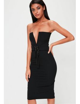 black-bandeau-corset-belt-dress by missguided