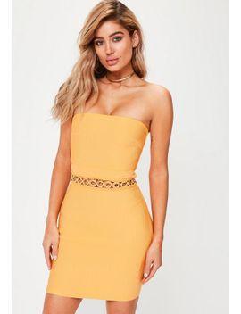 premium-orange-bandage-eyelet-detail-dress by missguided