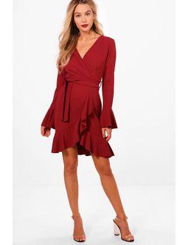 frill-sleeve-tie-waist-ruffle-hem-tea-dress by boohoo