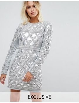 a-star-is-born-embellished-mini-dress-with-metallic-quilted-detail by a-star-is-born