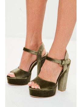 khaki-velvet-platform-heels by missguided