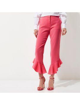 pink-frill-hem-straight-leg-cropped-pants--pink-frill-hem-straight-leg-cropped-pants by river-island