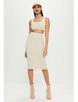 carli-bybel-x-missguided-cream-ribbed-midi-skirt by missguided