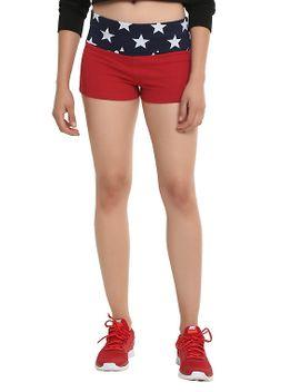 dc-comics-wonder-woman-red-&-navy-foldover-star-print-shorts by hot-topic