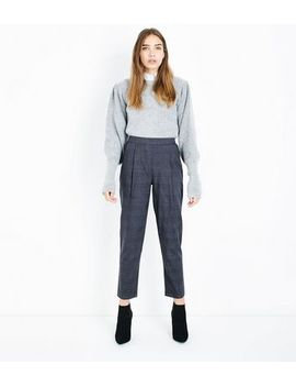grey-check-high-waist-tapered-trousers by new-look