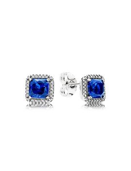blue-square-sparkle-halo-stud-earrings by pandora