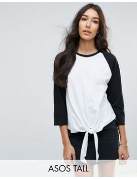 asos-tall-top-with-contrast-sleeve-and-knot-detail by asos-tall