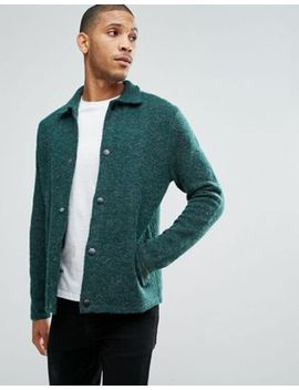 asos-knitted-harrington-jacket-in-hairy-yarn-in-green by asos