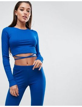 asos-crop-top-in-rib-with-tie-detail-(co-ord) by asos-collection