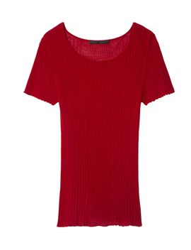 red-ribbed-scoop-neck-t-shirt by shopbazaar